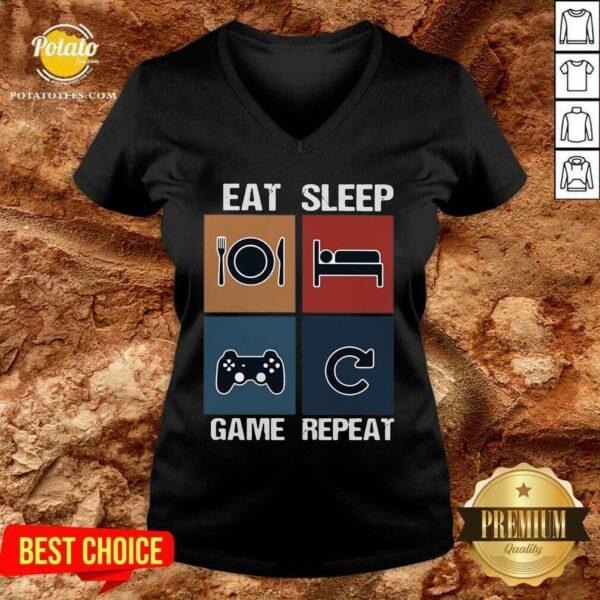 Eat Sleep Game Repeat Vintage V-neck - Design by Potatotees.com