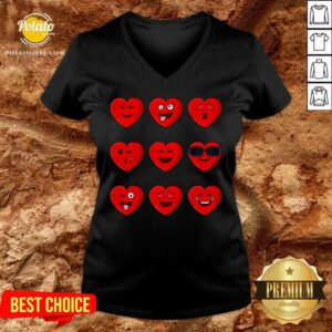 Heart Emojis Valentines Day Funny Emoticons Boys Girls Kids V-neck