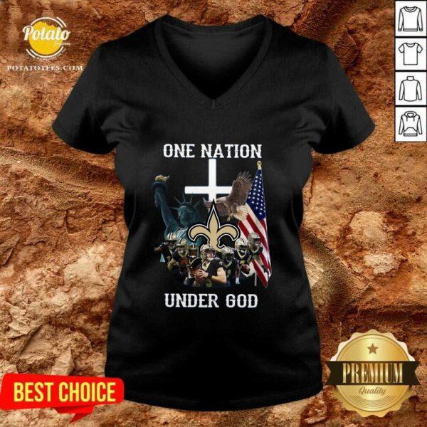 New Orleans Saints One Nation Under God V-neck - Design By Potatotees.com