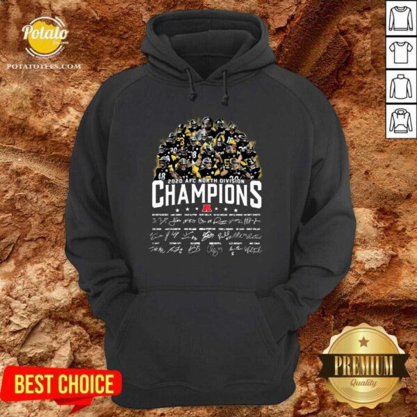Pittsburgh Steelers 2020 AFC North Division Champion Signatures Hoodie - Design by Potatotees.com