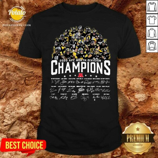 Pittsburgh Steelers 2020 AFC North Division Champion Signatures Shirt - Design by Potatotees.com