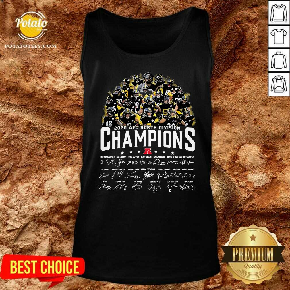 Pittsburgh Steelers 2020 AFC North Division Champion Signatures Tank-Top - Design by Potatotees.com