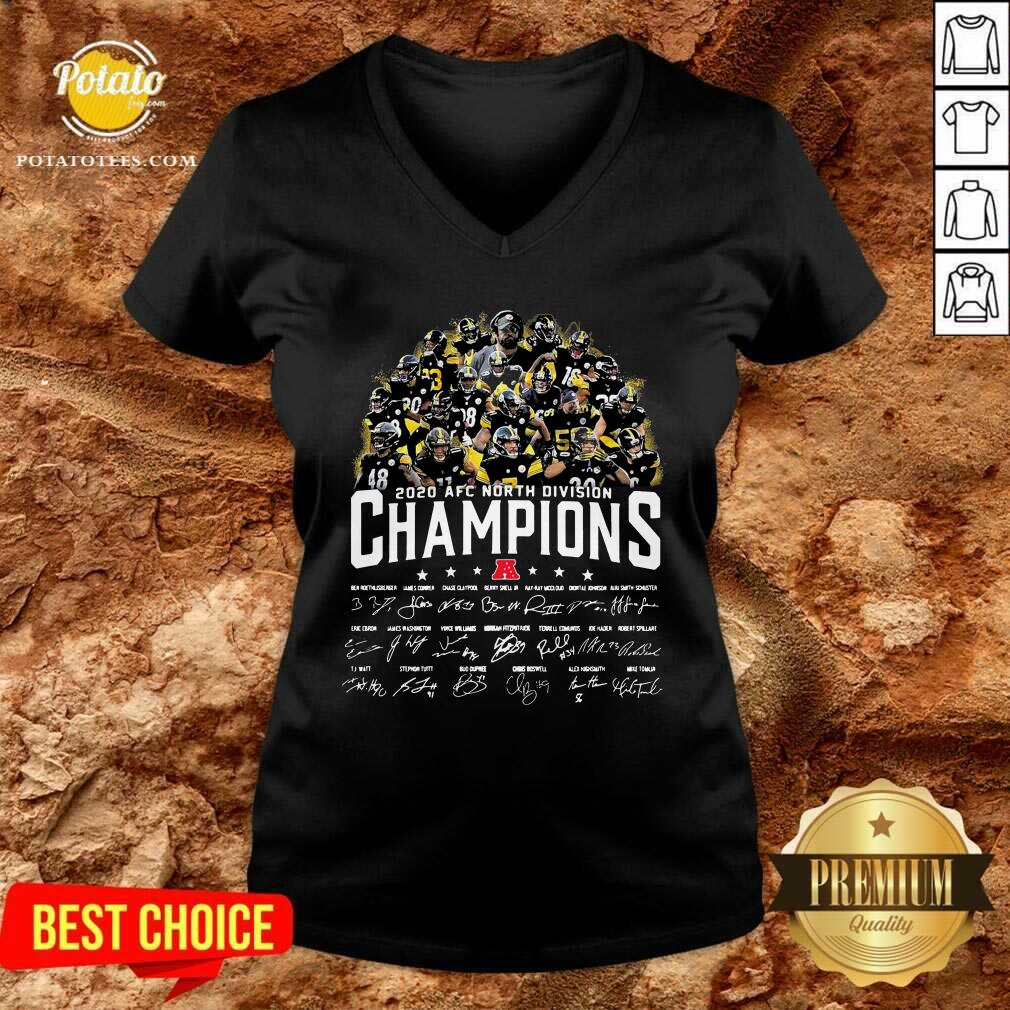 Pittsburgh Steelers 2020 AFC North Division Champion Signatures V-neck - Design by Potatotees.com