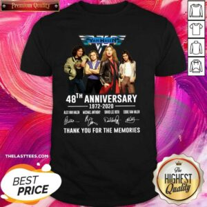 Nice Van Halen 48th Anniversary Thank You For The Memories Signatures Shirt - Design By Potatotees