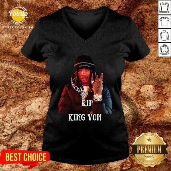 Official Rip King Von V-neck- Design By Potatotees.com
