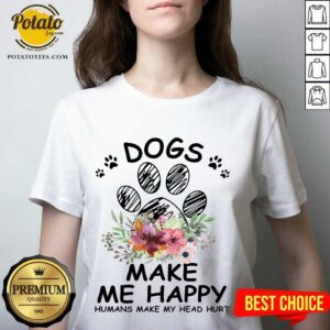 Sunfloral Dogs Make Me Happy Humans Make My Head Hurt 2021 V-neck