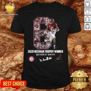 2020 Heisman Trophy Winner 6 Devonta Smith Alabama Crimson Tide Signature Tee Shirt