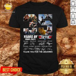 35 Years 1986 2021 Top Gun Maverick Thank You For The Memories Signatures Tee Shirt