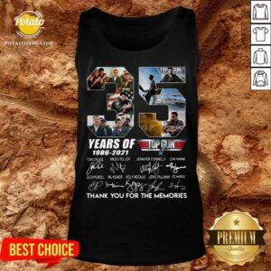 35 Years 1986 2021 Top Gun Maverick Thank You For The Memories Signatures Tee Tank-Top