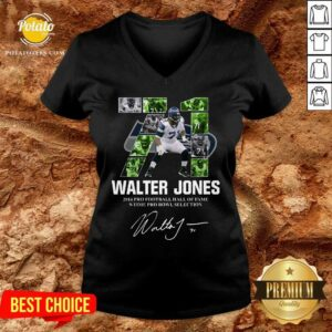 71 Walter Jones 2014 Pro Football Hall Of Fame 9 Time Pro Bowl Selection Signature V-neck