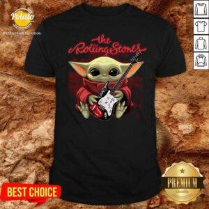 Baby Yoda Hug Guitar The Rolling Stones Shirt - Design By Potatotees.com
