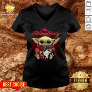 Baby Yoda Hug Guitar The Rolling Stones V-neck - Design By Potatotees.com