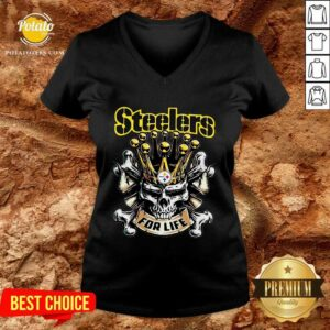 Perfect Skull Pittsburgh Steelers For Life V-neck- Design By Potatotees.com
