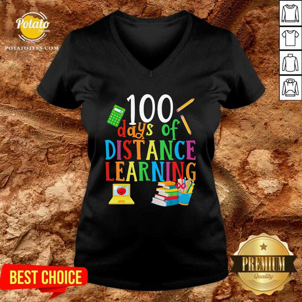 100 Days Of Distance Learning V-neck - Design By Potatotees.com