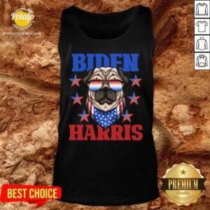 Biden Harris 2021 Democrat American Flag Pug Dog Sunglasses Unisex Tank-Top