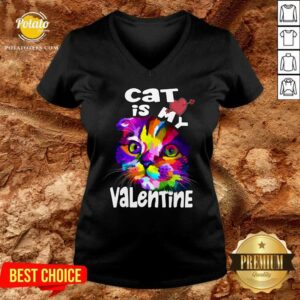 My Cat Is My Valentine Kitten Lover Valentine's Day 2021Gif V-neck