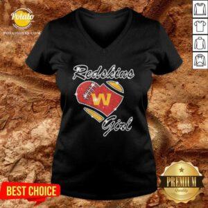 Diamond Heart Washington Redskins Girl V-neck - Design By Potatotees.com