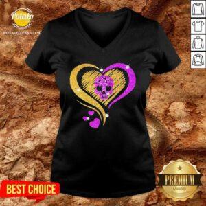 Skull Heart Bling V-neck- Design by Potatotees.com