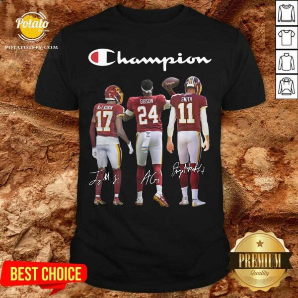 Terry Mclaurin 17 Antonio Gibson 24 Alex Smith 11 Washington Redskins Champion 2020 Signatures Shirt - Design By Potatotees.com