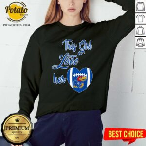 This Girl Love Hear Heart Kansas Jayhawks Football Sweatshirt - Design By Potatotees.com