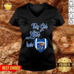 This Girl Love Hear Heart Kansas Jayhawks Football V-neck - Design By Potatotees.com