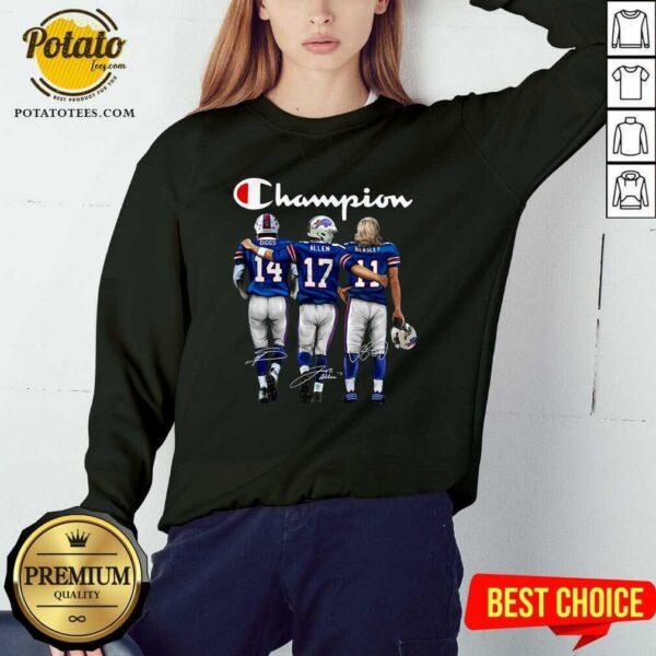 Buffalo Bills Diggs Allen Beasley Champion Signature Sweatshirt - Design By Potatotees.com