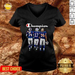 Buffalo Bills Diggs Allen Beasley Champion Signature V-neck - Design By Potatotees.com