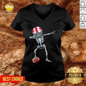 Top Skeleton Dabbing Nebraska Cornhuskers V-neck - Design by Potatotees.com