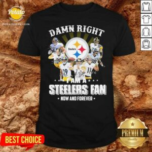 Top So Damn Right I Am A Pittsburgh Steelers Fan Now And Forever Signature Shirt- Design By Potatotees.com