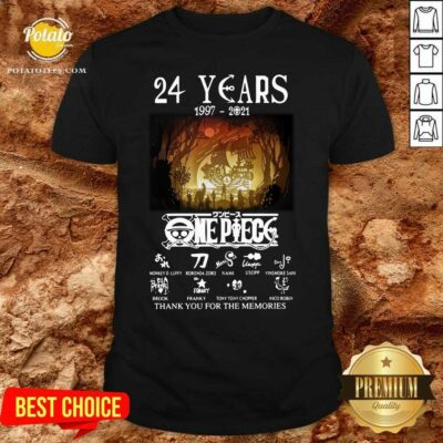 24 Years 1997 2021 One Piece Signatures Thank You For The Memories Shirt