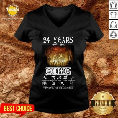 24 Years 1997 2021 One Piece Signatures Thank You For The Memories V-neck