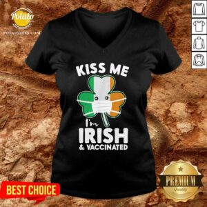 Kiss Me I'm Irish And Vaccinated St. Face Mask Patrick's Day V-neck