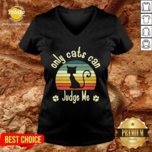 Only Cats Can Judge Me Funny Retro Sarcastic Sassy Cats love V-neck