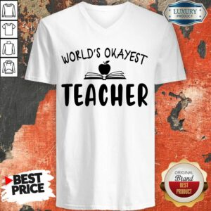 Premium Apple World'S Okayest Teacher V-neck