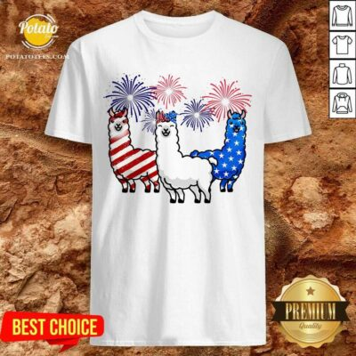 American Flag Colors Llama Lovers 4th Of July Shirt- Design By Potatotees.com