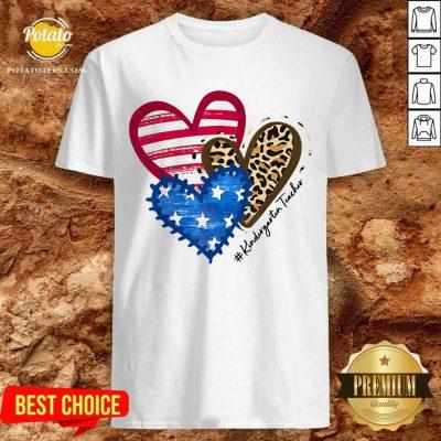 American Flag Leopard Heart Kindergarten Teacher Shirt- Design By Potatotees.com