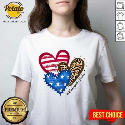 American Flag Leopard Heart Kindergarten Teacher V-neck- Design By Potatotees.com