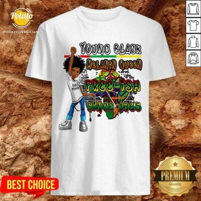 Black Kids Young Black Melanin Queen Shirt- Design By Potatotees.com