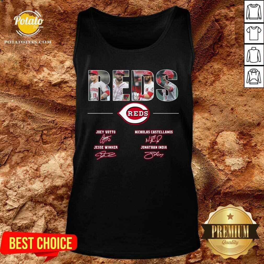 Cincinnati Reds Joey Votto Nicholas Castellanos Jesse Winker Jonathan India Signatures Tank Top
