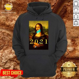 Mona Lisa With Face Mask Vaccination 2021 Hoodie