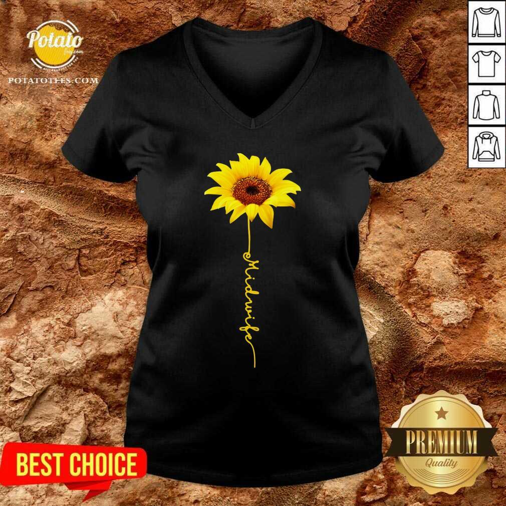 Pretty Midwife Sunflower V-neck