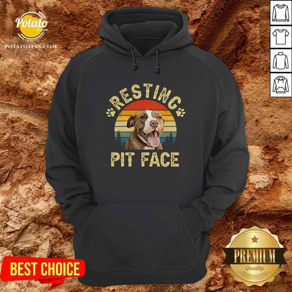 Top Pitbull Resting Pit Face Funny Hoodie