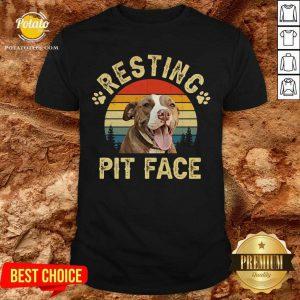 Top Pitbull Resting Pit Face Funny Shirt
