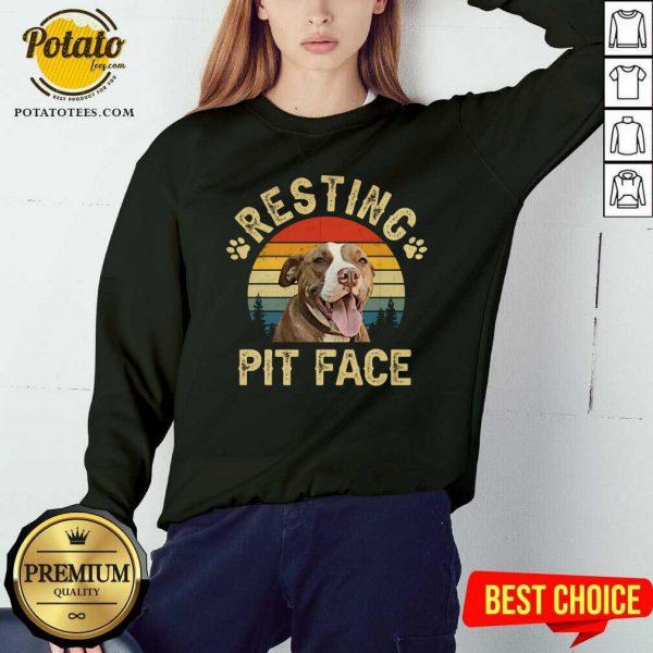 Top Pitbull Resting Pit Face Funny Sweatshirt