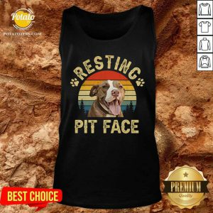 Top Pitbull Resting Pit Face Funny Tank Top