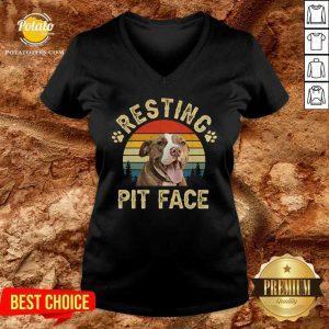 Top Pitbull Resting Pit Face Funny V-neck